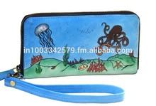 Hand painted Ocean World Designer Clutch Purse
