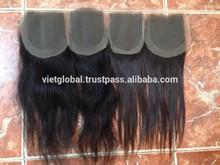 Wholesale free parting lace closure 100% virgin human hair natural color vietnamese hair closure piece