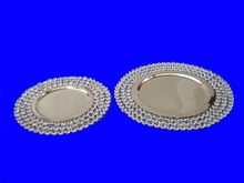 Crystal Beaded Charger Plate , Charger Plate with Crystal Border