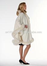 Cashmere Cape-Winter White Fox Trimmed