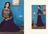 Designer Purple Colored Chiffon and Soft Silk Anarkali Dress