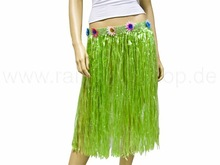 Long raffia bast hawaii hula skirt green
