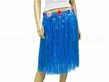 Long raffia bast hawaii hula skirt blue
