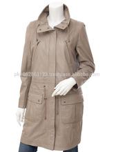2014 fashion ladies long leather coat skin