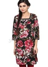 new designer floral printed kurti, wholesale cotton kurti, three quarter sleeves cotton kurti apparel