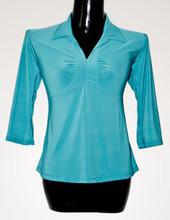 Three quarter sleeve women top blouse shirt chemise 100% stretch polyester