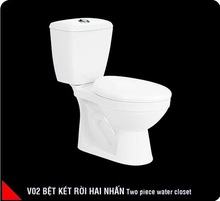 Two piece toilet, ceramic, white, dual flush, cyclon flushing