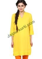 Jaipur Kurti's Pure Cotton Three Quarter Sleeves Yellow Kurti -JK2158