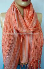 Viscose Silver color Lurex Handloom Weaved Designer Autumn Shoulder Wrap Scarf