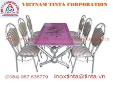 Vietnam stainless steel dining table with leather chairs/Stainless steel pipe dining tables
