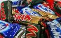 Marte, Twix, Snickers barras de chocolate y otros marca chocolates barras transversales