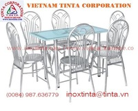 glass top steel pipe dining tables