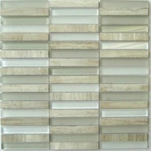 Random Strip Marble and Glass Mosaic Tiles, Carrara White.other colors avaliable