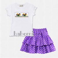 Mardi Gras clown hat smocked girl set - DR 1836