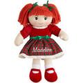 Personalizado de natal boneca de pano, caucasiana cabelo vermelho