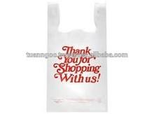 Vietnam manufacture white custom printed plastic t shirt bags for shopping