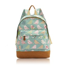 New Fashion and Beautiful Birds and Flowers Print Rucksack-Backpack Bag Medium Size, Women Bag