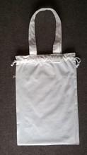Eco cotton drawstring shoes bag/handbag dust bag with handle length handle