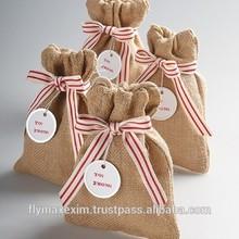 wedding jute pouch/ marriage gift bag/ small jute drawstring bag