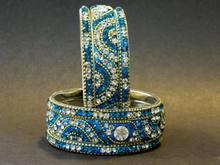 Designer Radium and Silver Crystal Metal Lakh Bangles