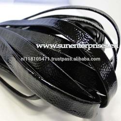 Flat Nappa Leather cords - Snake Style black - 10mm
