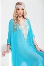 Turquoise silver embroidery Dubai kaftan,
