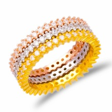 Hot Sale Turkish Wholesale 3Rows CZ Stone Rose Gold Plated Pave Band Jewelry925 Sterling Silver Ring