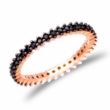 Top Quality Turkish Pave Band Wholesale Onyx Stone Rose Gold Plated Jewelry925 Sterling Silver Ring