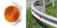 "Plastic Railguard Reflector, 3.25"" Dia, Amber, Single Sided, AGR model, winged design mounts"