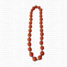 Felt ball necklace with beads