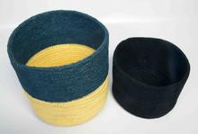 Jute Basket with full coloring. Size : big- dia : 32 cm. 2 pcs set.