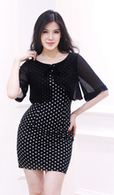 Ladies polka dot dress with chiffon outer