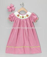 Wholesale Hot pink gingham palette smocked bishop dress for infant toddler girls -100% hand smocked with Love from Vietnam