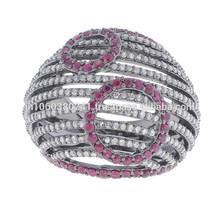 Designer Ring .925 Sterling Silver Pave Ruby Diamond Ring Indian Designer Handmade Wholesale Jewelry Gemstone Jewels