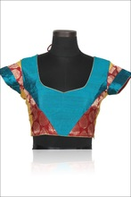 Bondi Blue Art Silk Party and Festival Embroidered Blouse