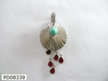 SGJGEMS PD08339 Red Stone 925 Sterling Sliver Fashion Pendant Direct Wholesale Costume Jewelry China