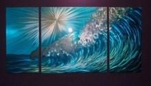 """48"""" X 24"""" Modern Ocean Wave Metal Wall Art Decor Coloured Sculpture Painting"""
