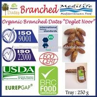 Organic Branched Dates Deglet Nour, Organic Branched Deglet Nour 250 g Tray. DegletNour, Dates