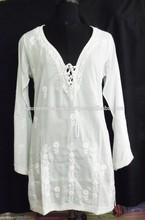 Ladies latest design modern girls tunic tops/western beach white tunic