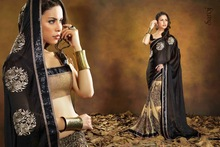 EXCLUSIVE COLLECTIONS OF SAROJ 6 GEORGETTE SILK DESIGNER N ELEGANT BOLLYWOOD TRADITIONAL COLLECTIONS OF SAREES