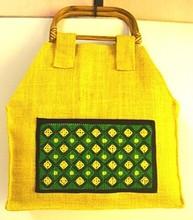 Ethnic Indian Handicraft - Handmade Tote Handbag of Jute and Cotton Fabric