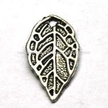 Leaf Silver Oxidized Charm,Cut-out leaf silver charm pendant