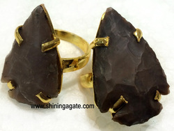 Fancy Jasper Arrowhead Finger Rings :Wholesale Gemstone Arrowheads Finger Rings
