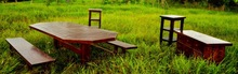 Wooden Assembled Garden Furniture Table With 2 Benches