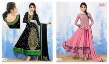 Glamours designer black & pink embroidered long anarkali salwar kameez
