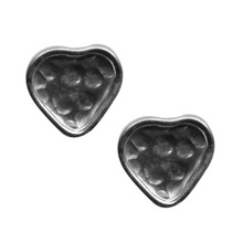 Fabulous Silver Heart Hammered Textured Sterling Silver Earring