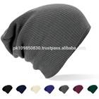 Custom acrylic embroidery knitting slouch beanie hat