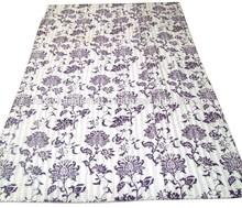 New Floral Print Kantha Quilt, White Floral Kantha Bedspread, Indian Handmade Blanket Gudri Ralli Decorative Art