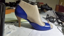 2014Most latest lace high heels shoe peep shoe bow flower