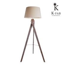 #35006 modern tripod wood base linen shade floor lamp Scandinavia